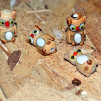 Owl Lampwork Glass Beads Set Of 5