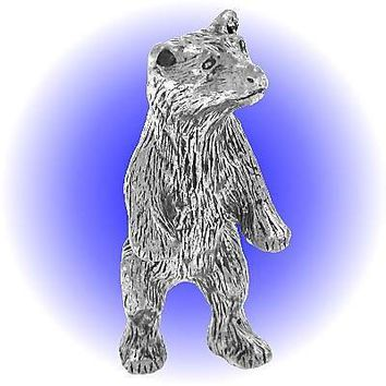 Standing Grizzly Bear  Pewter Figurine Lead Free