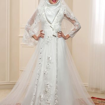 Sheer Long Sleeve Muslim Wedding Dresses 2017 Hijab High Neck Applique Lace Plus Size Dubai Bridal Kaftan Gown Vestidos De Noiva