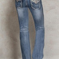 Grace in LA Boot Chevron Back Flap Jeans