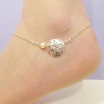 Silver sand dollar anklet with freshwater pearl (adjustable)