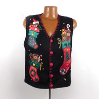 Ugly Christmas Sweater Vintage 1980s Tacky Holiday Cardigan Vest Party Women's size M