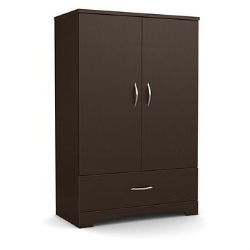 Contemporary 2-Door Armoire Wardrobe in Chocolate Brown