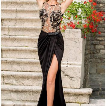 New year 2016 sexy Black Floor length gown evening dresses Hollow Out Lace Embroidered Mesh Wrap Maxi Dress LC6839 vestido noite