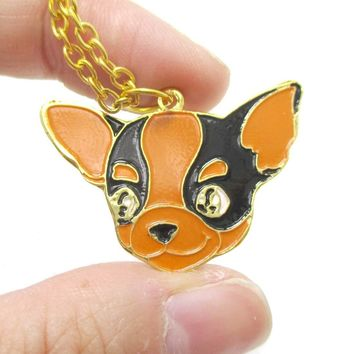 Chihuahua Puppy Dog Shaped Animal Pendant Necklace in Black and Tan | Limited Edition