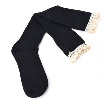 Women's Crochet Lace Trim Cotton Knit Footed Leg Warmers Boot Socks Knee High Stockings 5 Colors