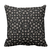 Dark Ditsy Floral Pattern Throw Pillow