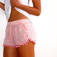 Pom Pom Shorts - Pale Pink and White Mini Leaf Print - Gym/Beach Shorts