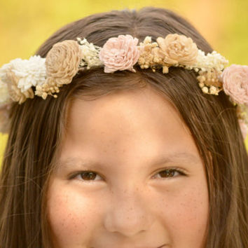 Headband Crown in Ivory Blush Pink Tan Wedding Bride Bridesmaid Flower Girl Hair Accessory  made of Sola and dried Flowers