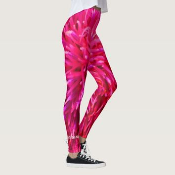 Pink and Hot Pink Abstract with Personalized Name Leggings