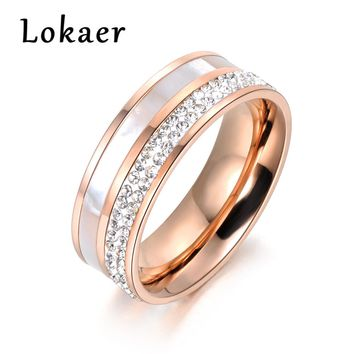 Lokaer Rose Gold Color  Rhinestone & Shell Wedding Rings Jewelry 316L Stainless Steel Engagement Ring For Women Gift