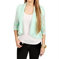 Mint Lace Open Front Jacket