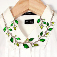 Leaf Branch Twig Statement Necklace with Earring Set Choker Necklace Leaves in Green Color Gift for Women, Her, Bridesmaid, Bride, Wife
