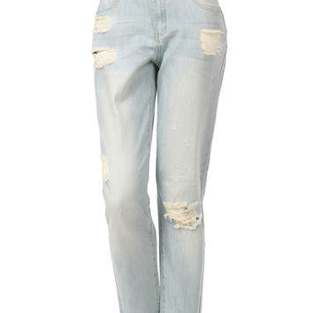 LE3NO Womens Distressed 5 Pocket Style Boyfriend Denim Jeans (CLEARANCE)