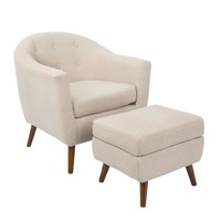 Rockwell Mid-Century Modern Chair With Ottoman Included in Beige by LumiSource
