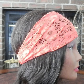 Lace Coral headband, Lace head wrap, Floral Lace headband, Cute hair covering, Stretchy lace hair band, Fashion Hair accessories, Lace wrap
