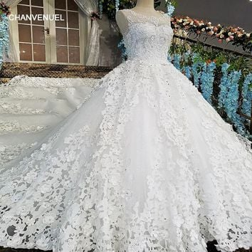 LS00184 vestido de noiva see through back flower bow sleeveless lace ball gown cathedral train Luxury wedding dresses real photo