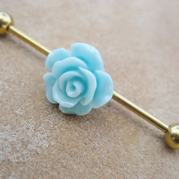Industrial Barbell Piercing- Mint Rose Flower Titanium Gold Bar 14g 14 g Gauge