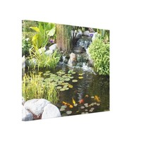 Koi Pond with Waterfall Canvas Print