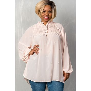 Ladies fashion plus size  long sleeve with elastic cuffs, elastic high neckline & elastic chest detail, sheer, triangle metallic detail allover, high-low hem, relaxed fit, button up & self tie closure detail top