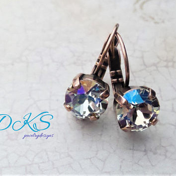 Swarovski Crystal 8mm Drop Earrings, Solitaire, Verde Shimmer, Bridal, Everyday, Jewelry Gifts, Copper, DKSJewelrydesigns,FREE SHIPPING