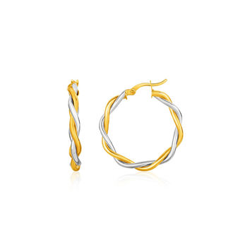 Two-Tone Twisted Wire Round Hoop Earrings in 10K Yellow and White Gold