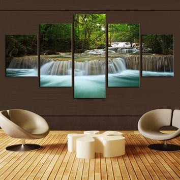 5 Pcs Waterfall Painting Canvas Wall Art Picture Home Decoration Living Room Canvas Print Painting--Large Canvas Art