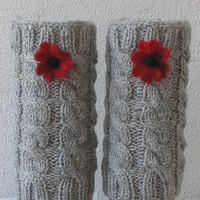 Knitted Boot Cuffs - GREY Knit Boot Cuffs - Leg Warmers - Boot Toppers - Knit Boot Socks
