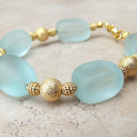 Seafoam Sea Glass Bracelet:  Aqua Mint Green and Gold Chunky Beaded Beach Jewelry, Resort Wear Accessory