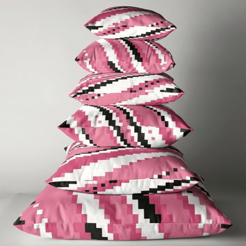 'Pink black and white pixels' Floor Pillow by Christy Leigh