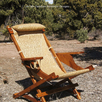 Golden Harvest Wheat Deluxe Fisherman Sling Chair Reclining Wood Outdoor All Weather Camping Folding Deck Beach Cup Holder Gear Bag