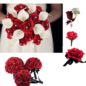 13pc set-Wedding package-Apple Red,White calla lily rose arrangements