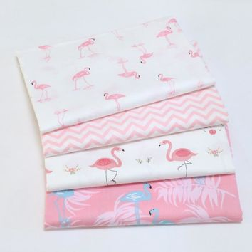 Printed Flamingo Twill Cotton Fabric By Half Meter for Patchwork Quilting Baby Bedding Sewing Cloth Material