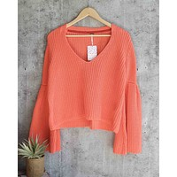 Free People - Damsel Cable Knit Pullover in Coral