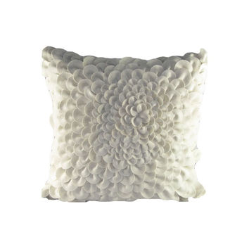 Design Accents SL 31900 - IVORY Ivory Felt Puffy Dahlia 20 x 20 Decorative Pillow