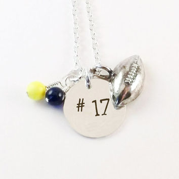 Hand Stamped Football Mom Necklace with Jersey Number, Football Jersey Number Necklace with Swarovski Pearl School Color Dangles