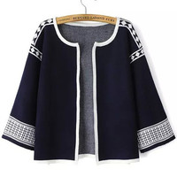 Navy Blue Flare 3/4 Sleeve Crop Coat with Color White Geometric Print