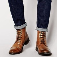 Base London | Base London Clapham Leather Military Boots at ASOS
