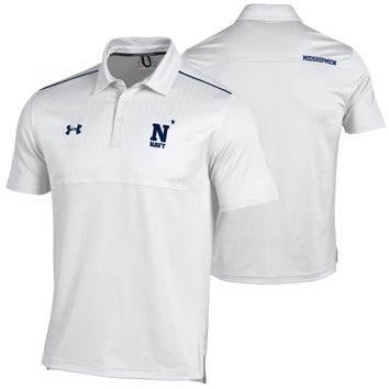 Navy Midshipmen Under Armour 2014 Ultimate Coaches Sideline Performance Polo – White