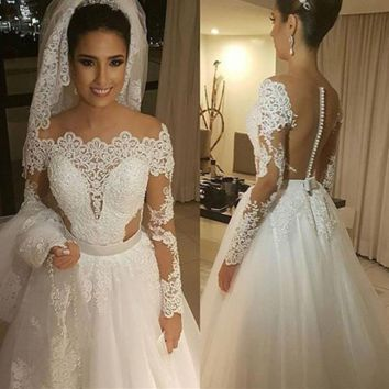 Long Sleeves Embroidery Pearls Beading Wedding Dress Illusion Back A line Boat Neck Bridal Gown
