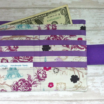 Birds and Paris print wallet, womens wallet, credit card wallet, bill wallet, bifold wallet, slim wallet, fabric wallet