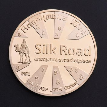 Silk Road Bitcoin BTC Coin Gold Plated Commemorative Coins Collectible Art Gift BTC292