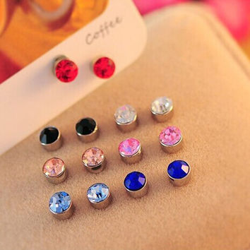 Candy Colors Crystal Novel Two Parts Magnet Double Side Silver No Piecing Jewelry for Girls Women Double Sided Stud Earrings