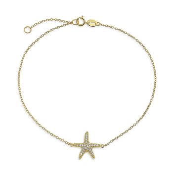 Starfish CZ Anklet 14K Gold Plated 925 Sterling Silver