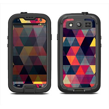 The Vector Triangular Coral & Purple Pattern Samsung Galaxy S4 LifeProof Fre Case Skin Set