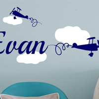 Airplane Decal-Personalized Name Airplane Clouds -Vinyl Wall Decal Boys Decor