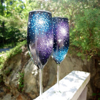 Hand painted galaxy champagne flute set