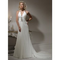 A-line Halter Chapel Train Charming Chiffon with Ruffle wedding dress
