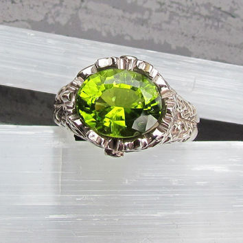 Peridot 10k White Gold Hand Engraved Ring August Birthstone Gemstone Jewelry