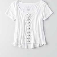 AEO Soft & Sexy Lace-Up T-Shirt , White